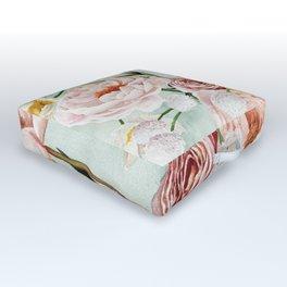 Blue Oval Peonies & Poppies Outdoor Floor Cushion