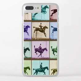 Time Lapse Motion Study Horse And Rider Color Clear iPhone Case