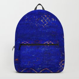 V11 Calm Blue Printed of Original Traditional Moroccan Carpet Backpack