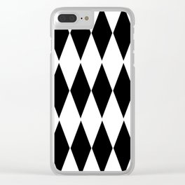 LARGE  WHITE AND BLACK   HARLEQUIN DIAMOND PATTERN Clear iPhone Case