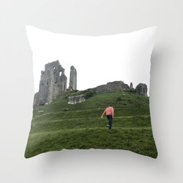 Corfe Castle Wanderlust medieval Throw Pillow
