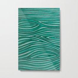 Green Wood Grain Metal Print