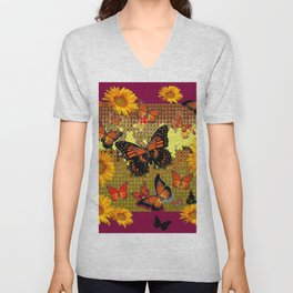 Abstracted  Burgundy Sunflowers & Orange Monarch Butterflies Unisex V-Neck