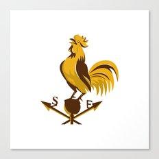 rooster cockerel crowing retro Canvas Print