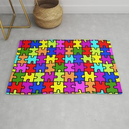 Colorful rainbow jigsaw puzzle pattern Rug