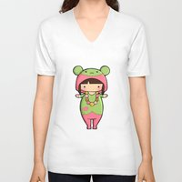 macaron V-neck T-shirts featuring Kigurumi Macaron by Joanna Zhou