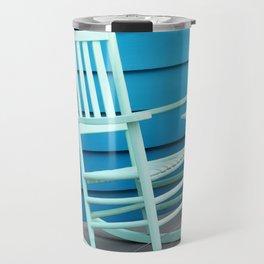Coastal Beach House Art - Blue Rocking Chair - Sharon Cummings Travel Mug