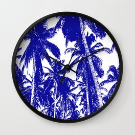 Palm Trees Design in Blue and White Wall Clock