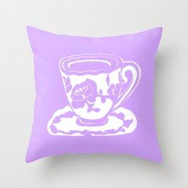 Lavender Teacup Printmaking Art Throw Pillow