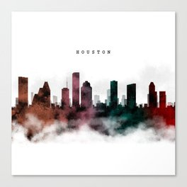 Houston Watercolor Skyline Canvas Print