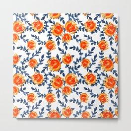 Blue and Orange Watercolor Nature Print Metal Print