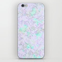 Modern lavender turquoise hand drawn watercolor botanical floral iPhone Skin