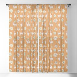 Llamas, Cacti and Amaryllis Desert Theme (orange palette) Sheer Curtain
