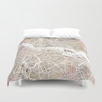 amsterdam Duvet Covers featuring Amsterdam by Mapsland