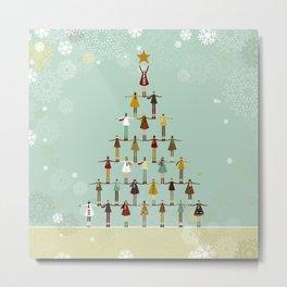 Christmas tree made of children Metal Print