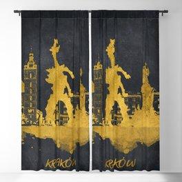 Krakow skyline gold black #cracow Blackout Curtain