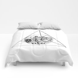 Graphic Geometric Shape Gray Dubai in a Bottle Comforters