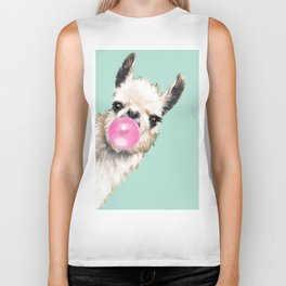 Bubble Gum Sneaky Llama in Green Biker Tank