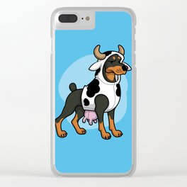 Doberman in a Cow Costume Clear iPhone Case