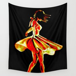 Spinning dancer in red Wall Tapestry