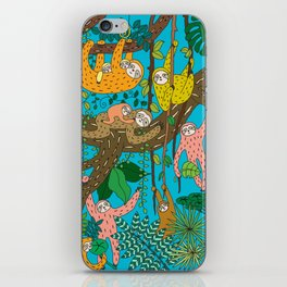Happy Sloths Jungle iPhone Skin