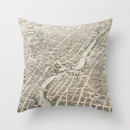 Vintage Pictorial Map of Pawtucket RI (1877) Throw Pillow