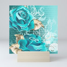 Lacy Background with Turquoise Roses Mini Art Print
