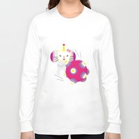 katamari Long Sleeve T-shirts featuring Katamari Kitty by Martine Verfaillie
