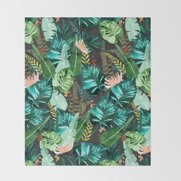 Tropical Dark Throw Blanket