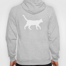 Cat silhouette cat lady cat lover grey and white square minimal modern pet silhouette pattern Hoody