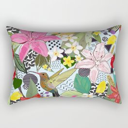 Tropical Pattern With Humming Bird, Strawberry and Colorful Lily Floral Pattern Rectangular Pillow