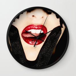 VX5308 Erotic Victory Lick Red Lips Pink Tongue Black Lace • Face Mask Wall Clock