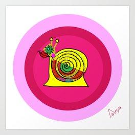 Snail in Love Art Print