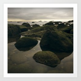 Rocky Shore and the Sea 02 Art Print