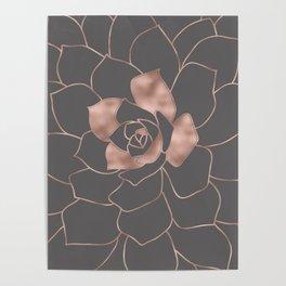 Rosegold  blossom on grey - Pink metal - effect flower Poster