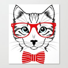 Hipster Cat with Red Glasses Canvas Print
