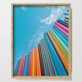 Colorful Rainbow Pipes Against Blue Sky Serving Tray