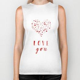 LOVE you! Watercolor Hearts. Valentine's Day Card Biker Tank