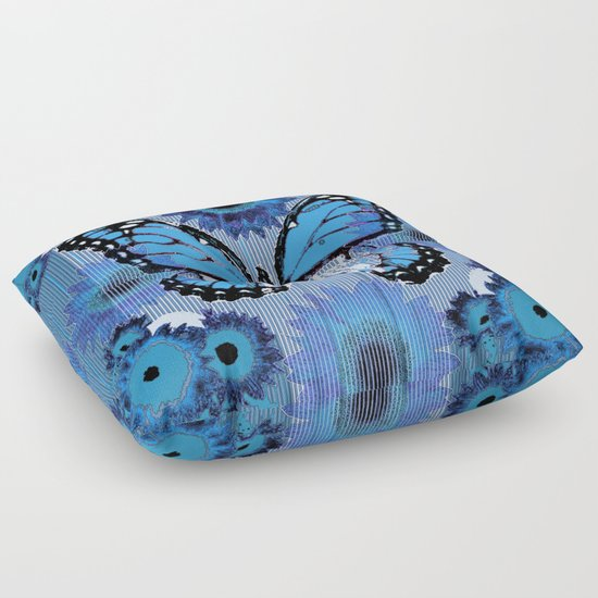 Shabby Chic Blue Pillows : SHABBY CHIC CERULEAN BLUE BUTTERFLY FLORAL ART Floor Pillow by SharlesArt Society6