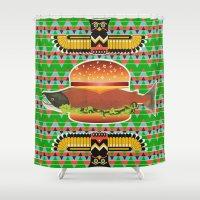 alaska Shower Curtains featuring Alaska Burger by milanova