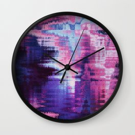 Violet Abstract Glitch effect Wall Clock