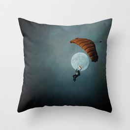 Skydiver's Moon Throw Pillow
