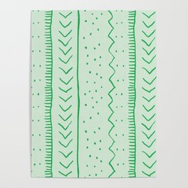 Moroccan Stripe in Green Poster