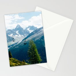 Chairlift at the Mont Blanc Massive || Travel Art Print French Alps Stationery Cards