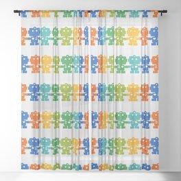 Rainbow Robots Holding Hands Sheer Curtain