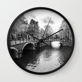 Bridge over canals in Amsterdam Wall Clock