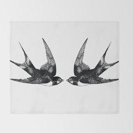 Double Swallow Illustration Throw Blanket