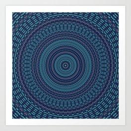 Dark Teal Navy Mandala Design Art Print