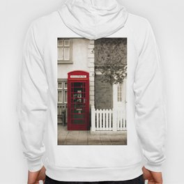 Red Telephone Booth Sepia Spot Color Photography Hoody