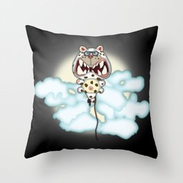Funny Scared White Cat Balloon With Glasses Throw Pillow